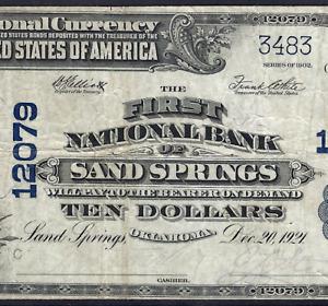OK  1902 $10   ♚♚ SAND SPRINGS,OKLAHOMA ♚♚ PCGS VERY FINE 20    RARE NOTE!!!