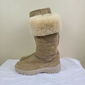 Cabela's Women Sz 8M Winter Boots Suede Leather Shearling Lining Lined Fur Warm