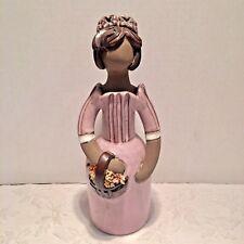 """Vtg Large 10"""" Pottery Figurine Girl Lady Flower Holder Elbogen Sweden Hand Made"""