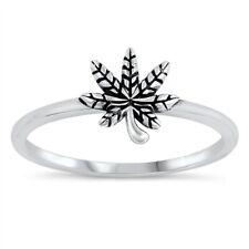 Oxidized Marijuana Leaf Ring .925 Sterling Silver Band Sizes 3-10 NEW
