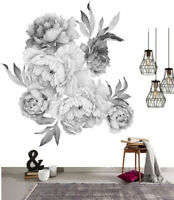 Black Peony Flowers Wall Sticker Art Nursery Decals Kids Room Home Decor Gift