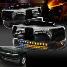 99-02 Chevy Silverado 00-06 Tahoe Suburban Black Headlights+LED Bumper Lights