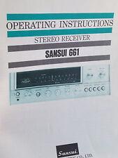 SANSUI 661 Bedienungsanleitung Stereo Receiver
