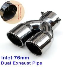 "Universal Car Tail Back Dual Outlet Exhaust Rear Pipe Muffler 76mm 2.99"" Inlet"