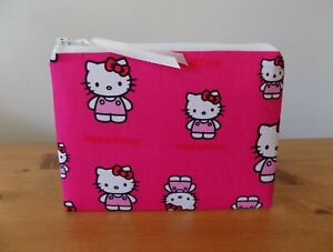 Hello Kitty Make Up Bag Fabric Storage Pouch Coin Purse Cosmetics Case Handmade