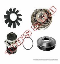 ALUMINUM WATER PUMP METAL PULLEY FAN BLADE HEAVY DUTY CLUTCH for BMW E36 SET 4