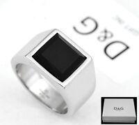 DG Men's Silver Stainless Steel Black Onyx Ring Size 7 8.9, 10,11,12 13 + Box