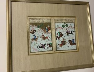 PERSIAN incredibly Detailed Gouache On Double Page 1700's Fighting Scene unknown