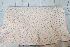 Ralph Lauren Colchester Queen Flat Bed Sheet Ruffled Edge Red Floral Flowers EUC