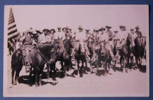 1925 All Set for Round Up Burnt Oregon Real Photo Postcard Rodeo B8S1