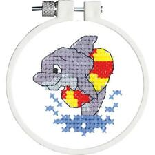 Kids Stamped Cross Stitch Kit Dolphin Splash by Janlynn 0211821