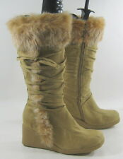 """new camel color 3""""high wedge heel comfortable knee boot top rabbit fur Size  7 P"""