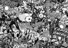 MARVEL COMIC STICKERBOMB SHEET @ 2m x 600mm COMIC/SUPERHERO/JDM/WRAP- B&W