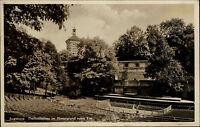 Augsburg Bayern alte Ansichtskarte 1933 Freilichtbühne Roter Turm im Hintergrund