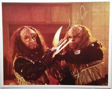 Star Trek DS9 Autograph 8x10  Photo Signed by Klingons Gowron & Worf (LHAU-484)