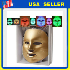 7Colors LED Light Photon Facial GOLD Mask Skin Rejuvenation Reduces Wrinkles New