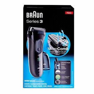 Braun Cordless Razor Men Series 3 ProSkin Foil Shaver Rechargeable Clean Station