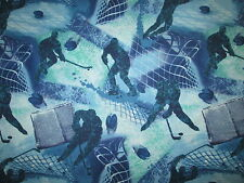 Hockey Sports Net Goal Overall Blue White Cotton Fabric FQ
