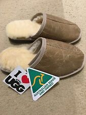 NEW Genuine Australian Ugg Sheepskin Slipper - Lady Size 9 - Leather Olive Color