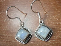 Moonstone Squares with Silver Dot Accents 925 Sterling Silver Dangle Earrings