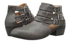 Qupid Womens Static-17 Strappy Buckle Closed Toe Bootie Low Heel, Grey, 6 M US