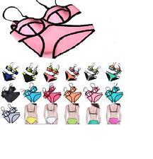 Women Push Up Neoprene Bikini Swimsuit Bandage Swimwear - UK stock