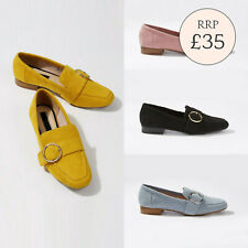 Ex Miss Selfridge FLOSSIE Circle Trim Suede Loafers in Blue Yellow Pink Black