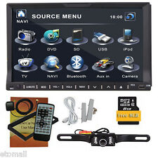 "GPS+MAP+Cam-Double 2Din In Dash 7"" Car Stereo DVD Player Radio BT iPod"