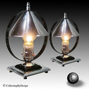 PAIR 1930s Chase Era Machine Age Deco Chrome & Black Accent Lamps * RESTORED
