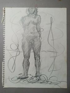"""1970's Original Artwork Nude Drawing Pencil On Paper 8"""" x 10"""" Unsigned Decor"""