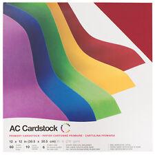 "American Crafts 12"" x 12"" Smooth Cardstock Primaries Pack - 60-Sheet Set"