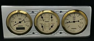 1940 CHEVY CAR 3 GAUGE DASH PANEL CLUSTER QUAD STYLE PROGRAMMABLE GOLD