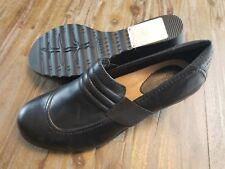 EARTH Starling Black Leather Wedge Heels Shoes Women's US Size 9.5