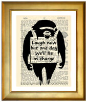 BANKSY LAUGH NOW MONKEY ART PRINT ON OLD ANTIQUE DICTIONARY ENCYCLOPAEDIA