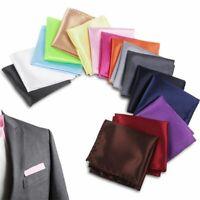 Men Silk Satin Pocket Square Hankerchief Hanky Plain For Wedding Party .
