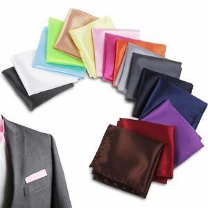 Men Silk Satin Pocket Square Hankerchief Hanky Plain For Wedding Party Gift