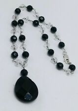 Sterling Silver 925 Black & Clear Crystal Bead Necklace 17""