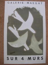 """Lithographie Georges Braque Galerie Maeght """"Sur 4 Murs"""" Mourlot Imp."""