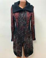 JOSEPH RIBKOFF size UK 12 Red Black Grey Long Cardigan / Jacket Zip Knee