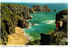 Vintage unused John Hinde Postcard, Cornwall,  Logan Rock, Porthcorno