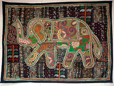 Tapestry Elephant Patchwork Wall Hanging Hippie Vintage Handmade Embroidered