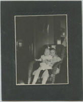 Antique Photo-Little Girl Holding Baby & Doll Sitting