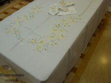 TOVAGLIA TAVOLA X12 RICAMO A MANO + TOVAGLIOLI 180X270 SERVIZIO LINO T065 GIALLO