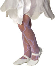 Rubies Girl's Fancy Fashion Dance Mesh Bow Tights - White, Blue, Pink, Lilac