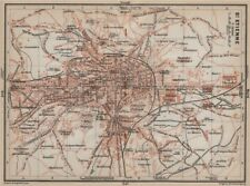 St-etienne st-etienne antique ville city plan de la ville. loire carte 1914 carte