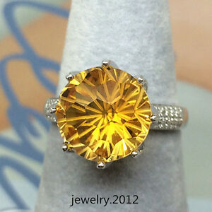 11.0mm Round Natural Citrine Good Diamond Gorgeous Ring In 14k Solid White Gold