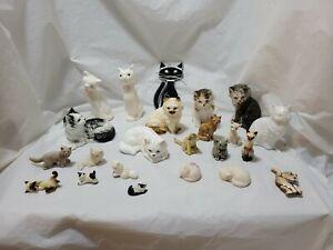 Cat Figurines Ceramic,porcelain,BoneChina,Glass,&Metal Various Makers Lot Of 23