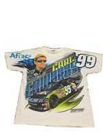 Mens XL Carl Edwards Nascar 99 All Over Print White T-shirt Aflac Duck Roush