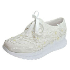 Ladies Floral Lace Trainers Bridal Shoes Lace Up Comfy Sneakers Chunky Creepers