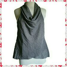 Women's  Black and white Top with draped front. Size L